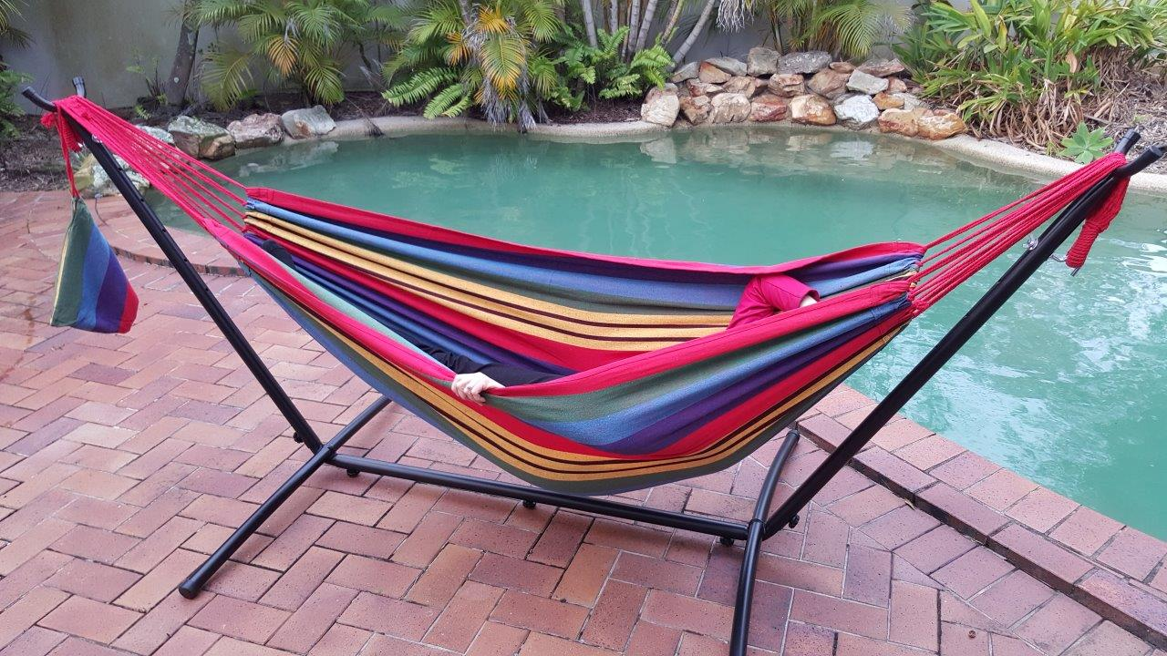 Free Standing Red and Yellow Hammock with Fixed Stand  eBay