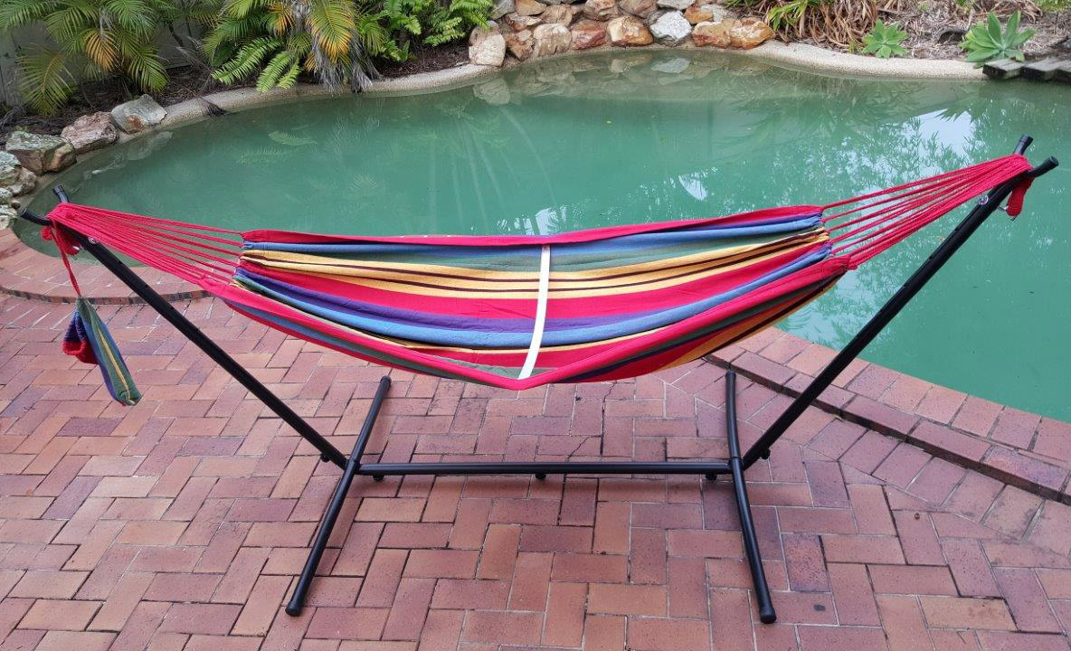 Free Standing Hammock Red And Yellow Canvas Hammock With