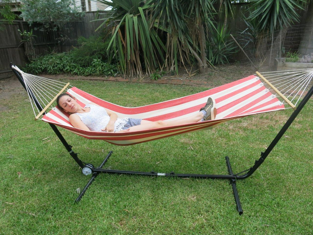 hammock chair stand adjustable highback office free standing single red and white canvas