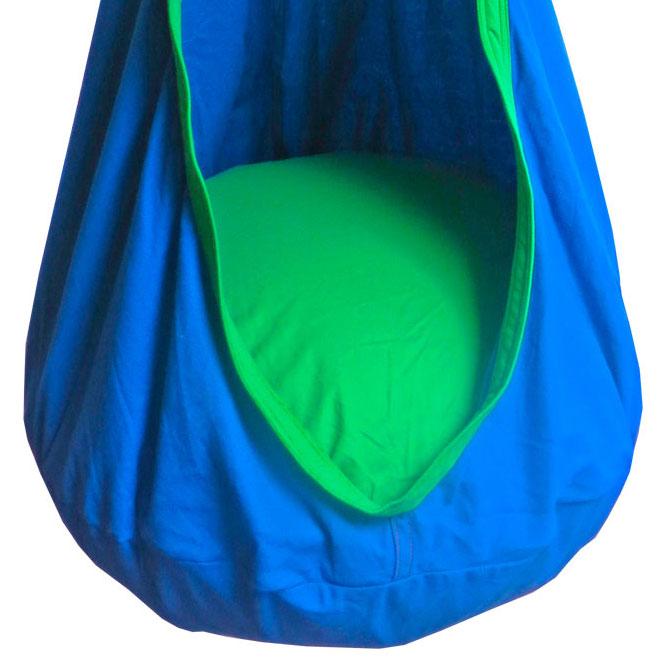 hanging hammock chairs outdoors bedroom and table blue green kids sensory swing pod chair - heavenly hammocks