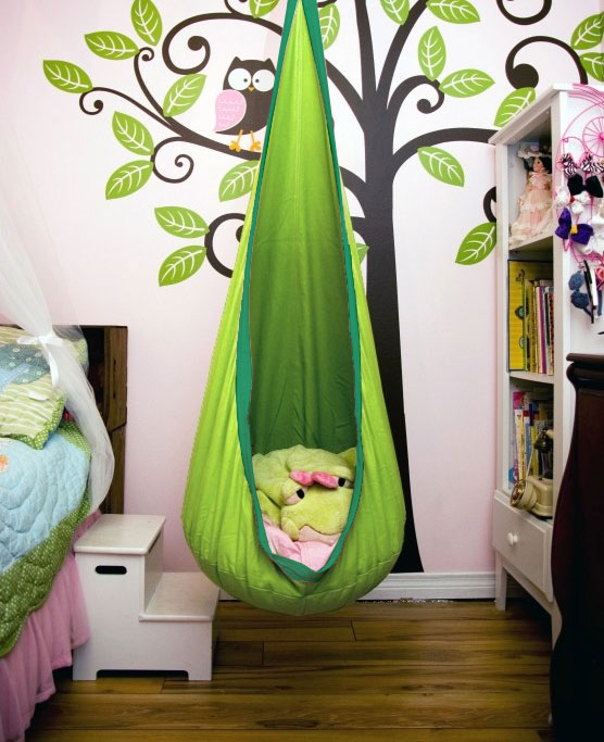 hanging chair cart office seat cover green kids sensory swing pod - heavenly hammocks