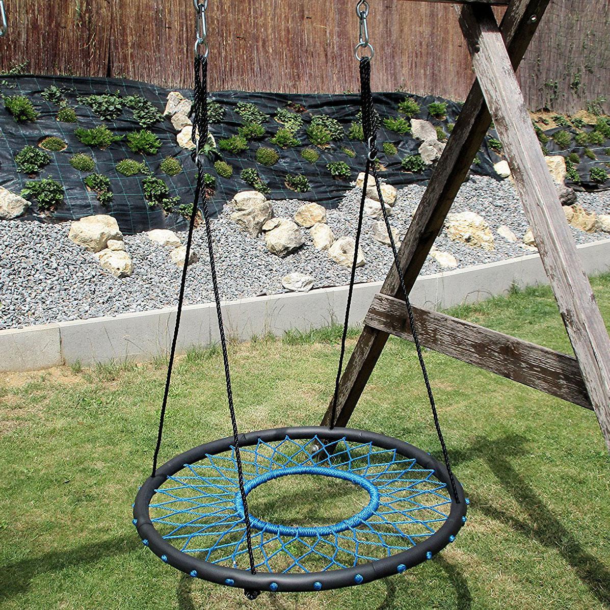 100cm Teal Web Nest Tire Swing  Heavenly Hammocks
