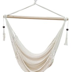 Hanging Chair Hammock Natural Gear Folding White Cotton Rope With Tassels Heavenly