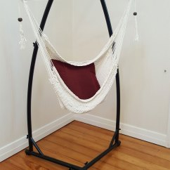 Hanging Chair And Stand Leather Recliner Cotton Rope Hammock With Tassels 43