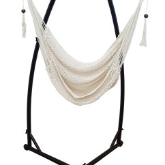 Hammock Chair Stands Diy B And Q Dining Covers White Cotton Rope With Tassels Stand