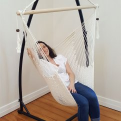 Hammock Chair With Stand Director Chairs Cheap White Cotton Rope Tassels