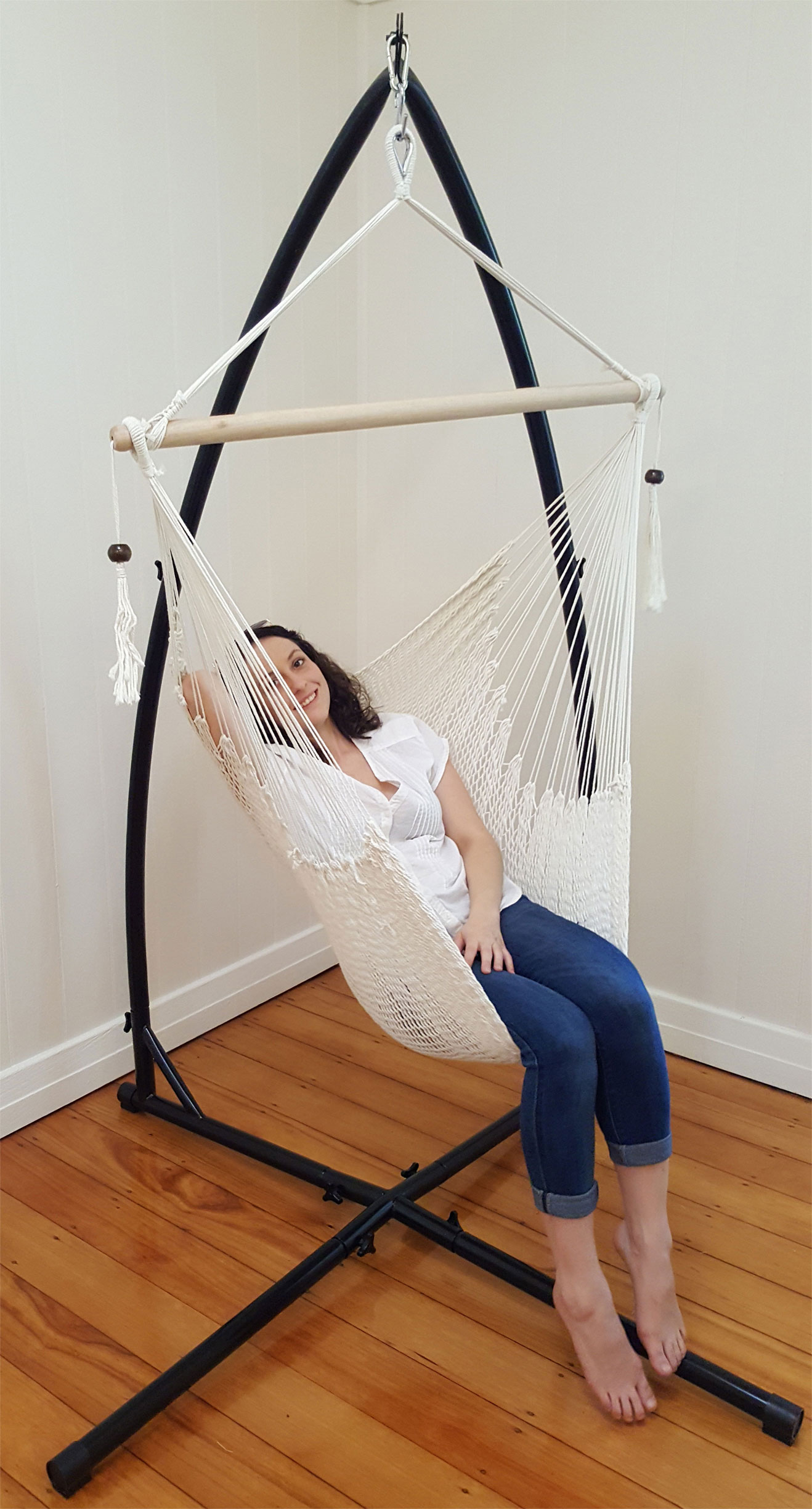 hanging chair and stand office big tall cotton rope hammock with tassels 43