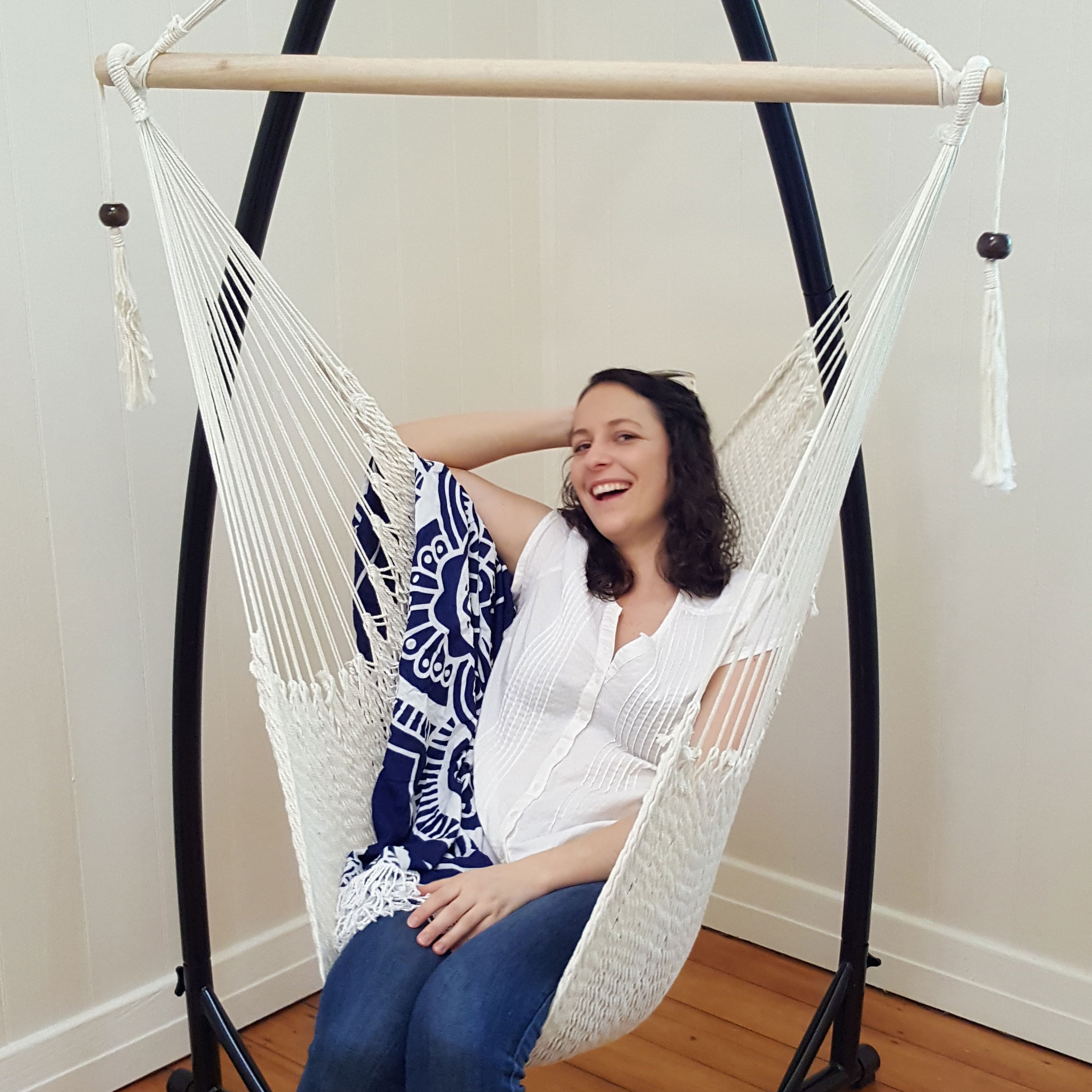 rope chair swing stand replacement cushions for white cotton hammock with tassels