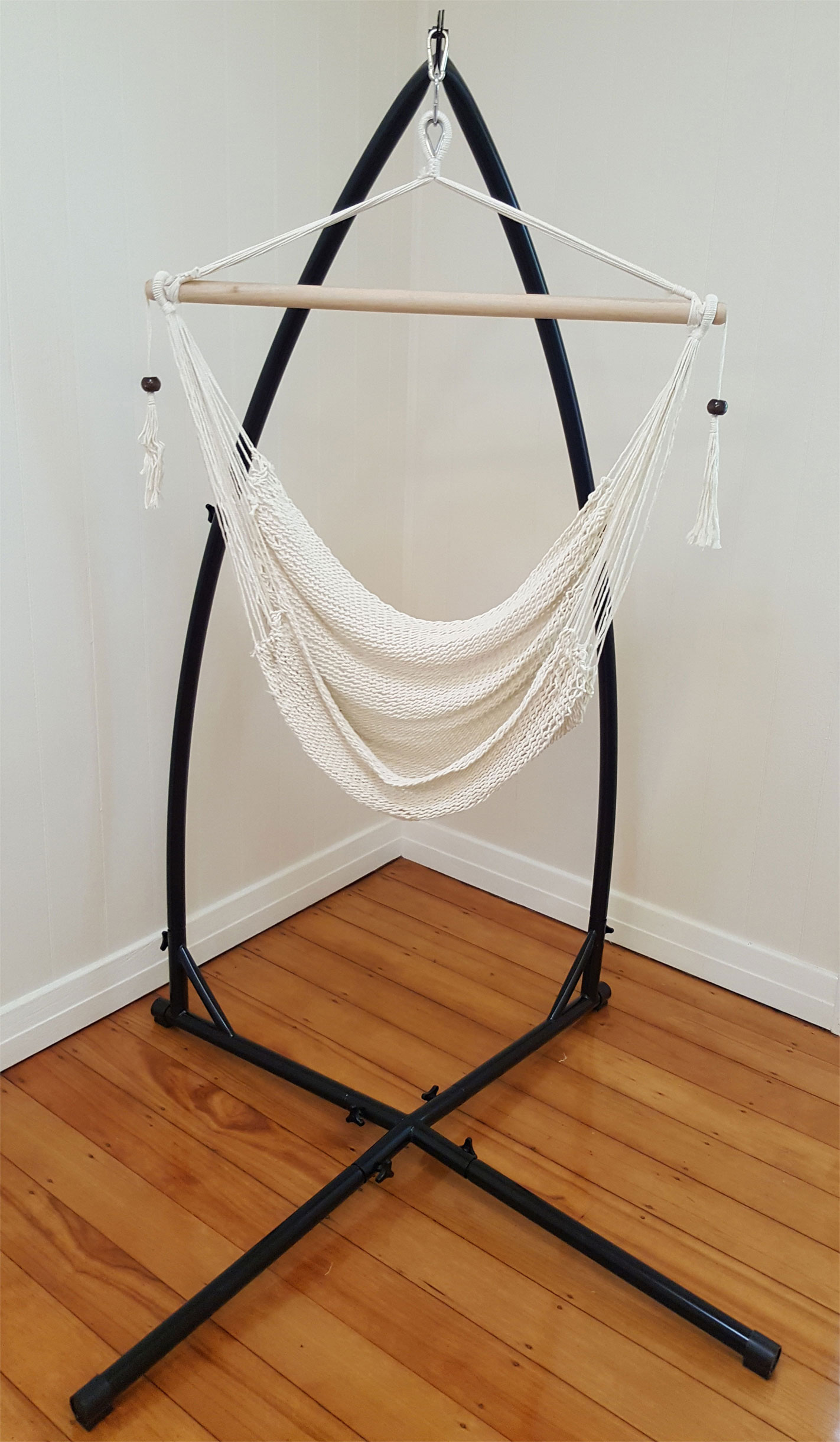 hammock chair with stand gaming chairs amazon white cotton rope tassels
