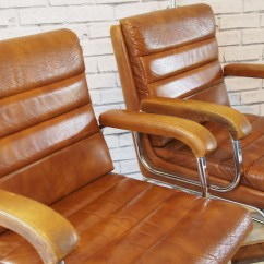 Leather And Chrome Chairs Black Kitchen Vintage Verco Heavenly Metal