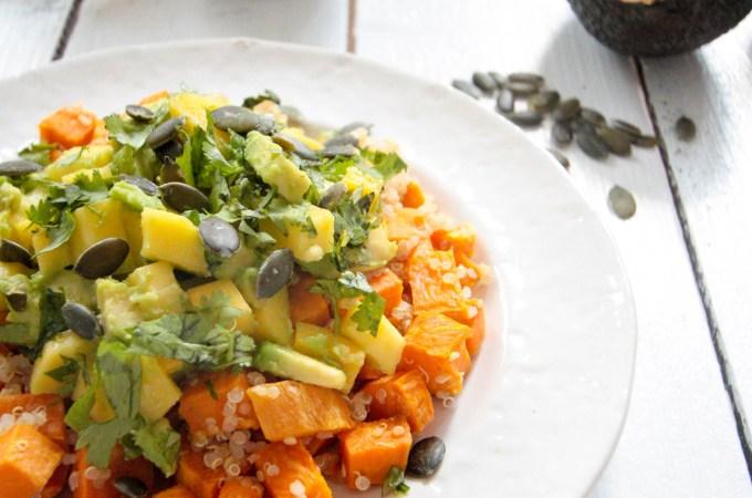 Sweet Potato Quinoa Salad with Avocado Mango Salsa