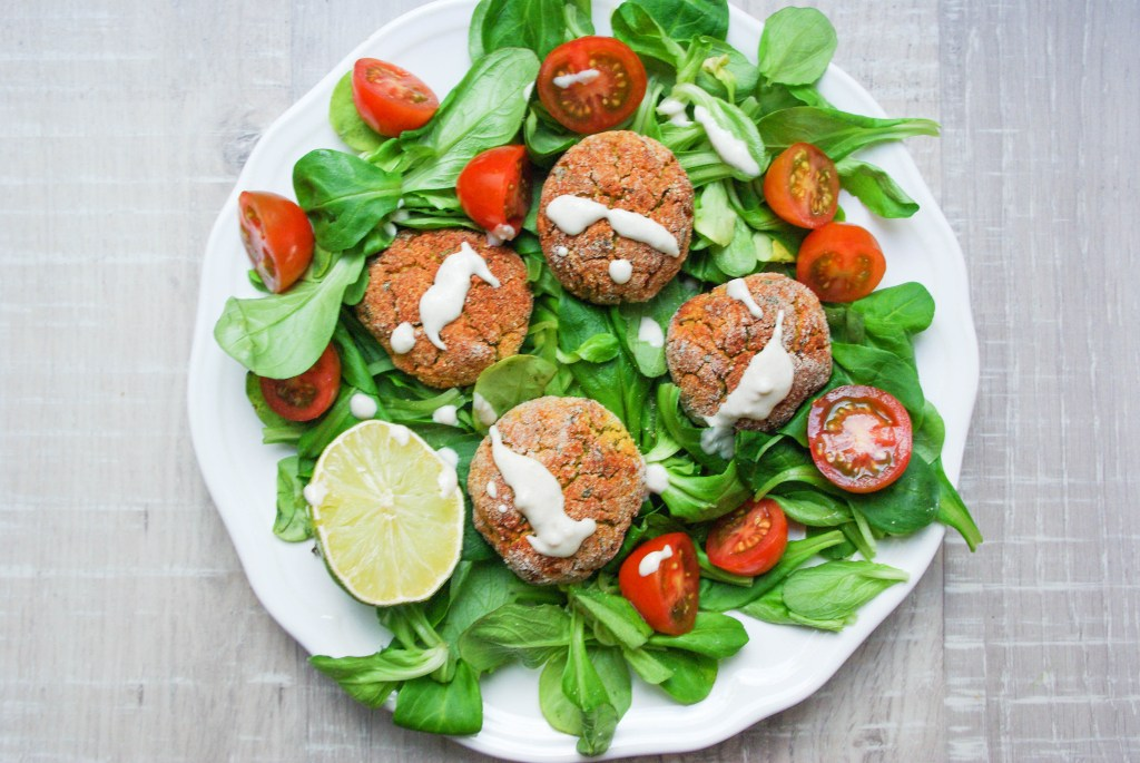Red Lentil falafel with tahini-lime-dip