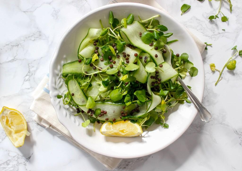 Cucumber Salad with Beluga Lentils and Ginger-Turmeric Vinaigrette - plant-based, gluten free, refined sugar free - heavenlynnhealthy.com