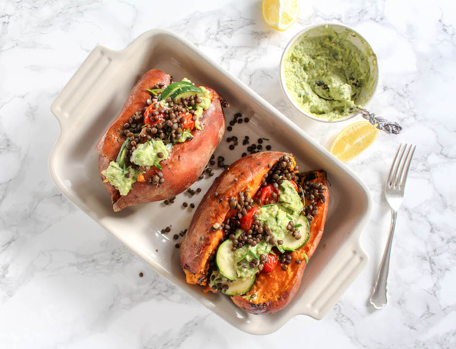 Stuffed Sweet Potato with Cashew Chives Chutney & Beluga Lentils - plant based, gluten free, dairy-free, vegan - heavenlynnhealthy.com