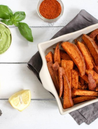 Harissa Spiced Sweet Potato Wedges with Spicy Avocado Dip