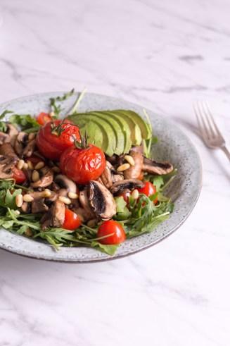 Tamari sautéed mushroom salad with rocket and mole dressing - plant based, gluten free, vegetarian, vegan option, refined sugar free - heavenlynnhealthy.com