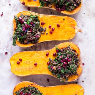 Holiday Stuffed Butternut Squash with Lentils and Kale - vegan, plant based, gluten free, refined sugar free - heavenlynnhealthy.com
