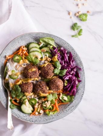 Vietnamese Banh Mi Bowl with plant based quinoa meatballs