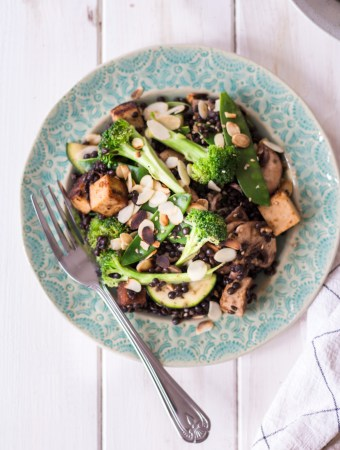 Asian Beluga Lentil Salad with Almond Tofu