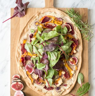 Colorful autumn pizza - plant-based, vegan, gluten free, refined sugar free - heavenlynnhealthy.com