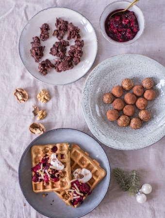 3 healthy Christmas desserts – Chai Waffles, Choco-Crossies and Christmas Energy Balls