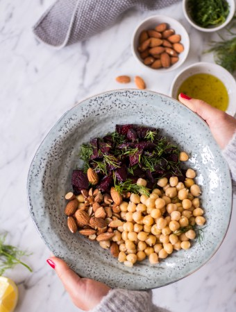 Almond, chickpea and beetroot salad with dill + tips on how to make long-lasting dietary changes