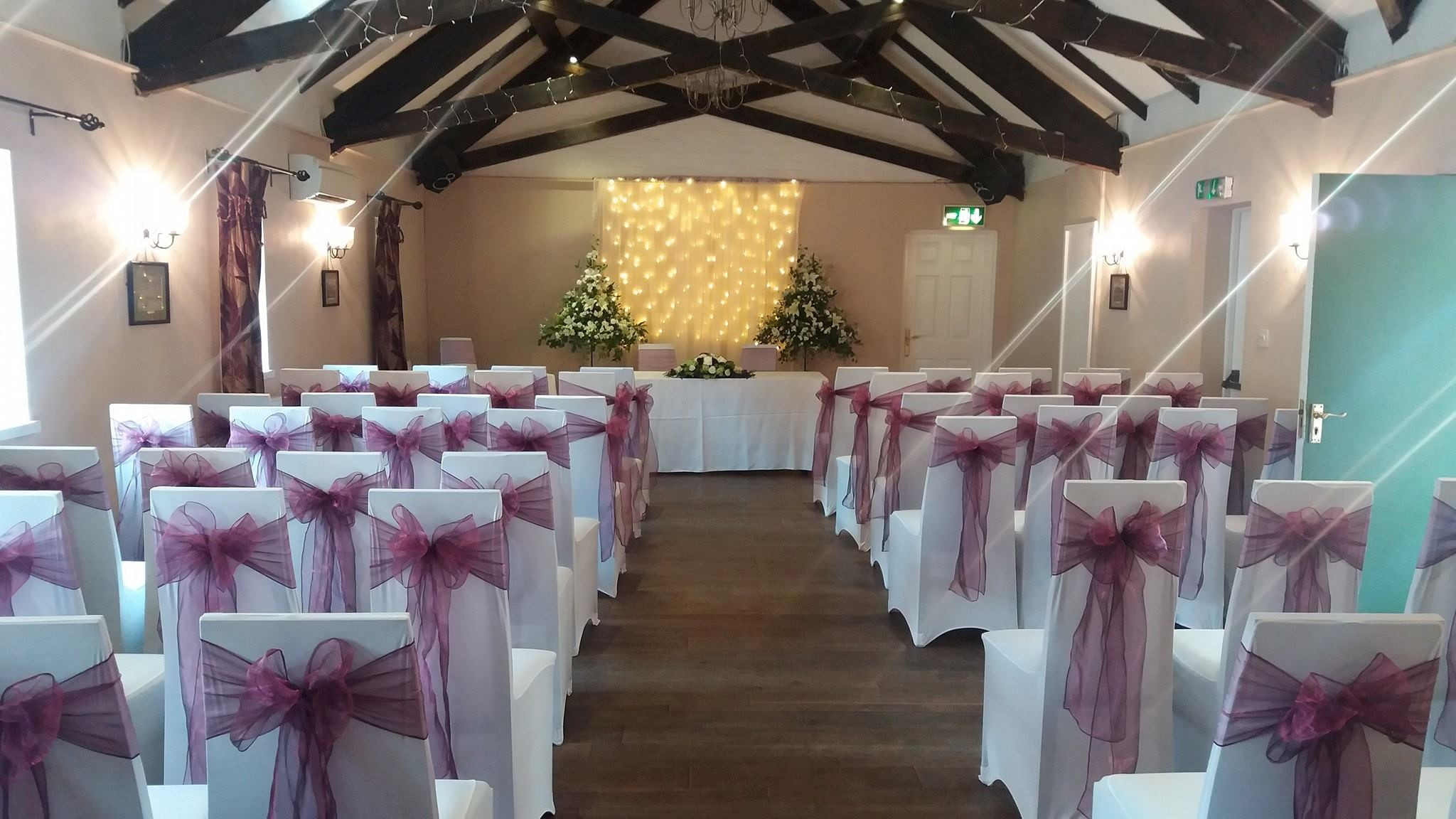 chair covers for weddings shropshire french style dining chairs venue dressing heavenly wedding belles