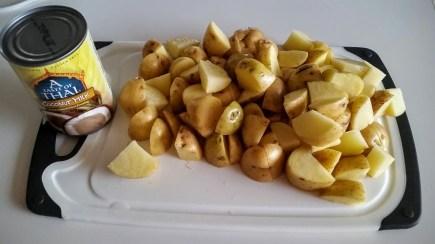 I cut the potatoes