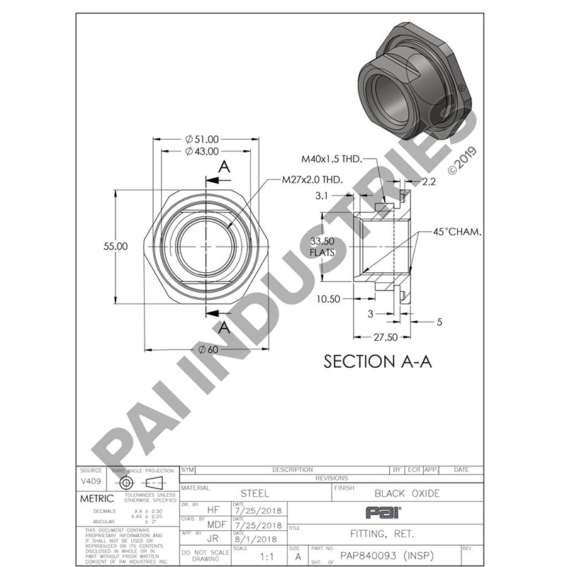 Mack/Volvo Oil Pan Retainer Fitting, 20527447