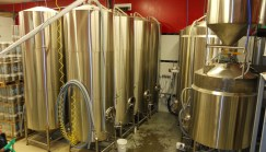 stainless brewery tanks at St. Lawrence Brewing