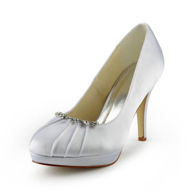 77bfd86bb860 Women s Satin Stiletto Heel Closed Toe Platform White Wedding