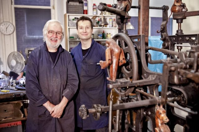 Sergey Jakovsky and Eduard Bersudsky in the Sharmanka workshop at Trongate 103, Glasgow, in September 2016. They are photographed next to the new kinemat commissioned by An Lanntair in Stornoway. The sculpture is constructed from bits of a neglected, single-width Hattersley loom from the village of Balallan on Lewis.