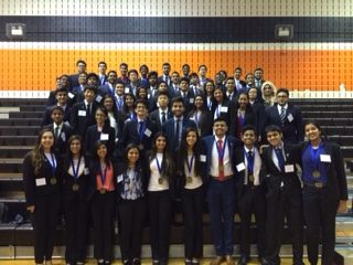 DECA members at district competition.