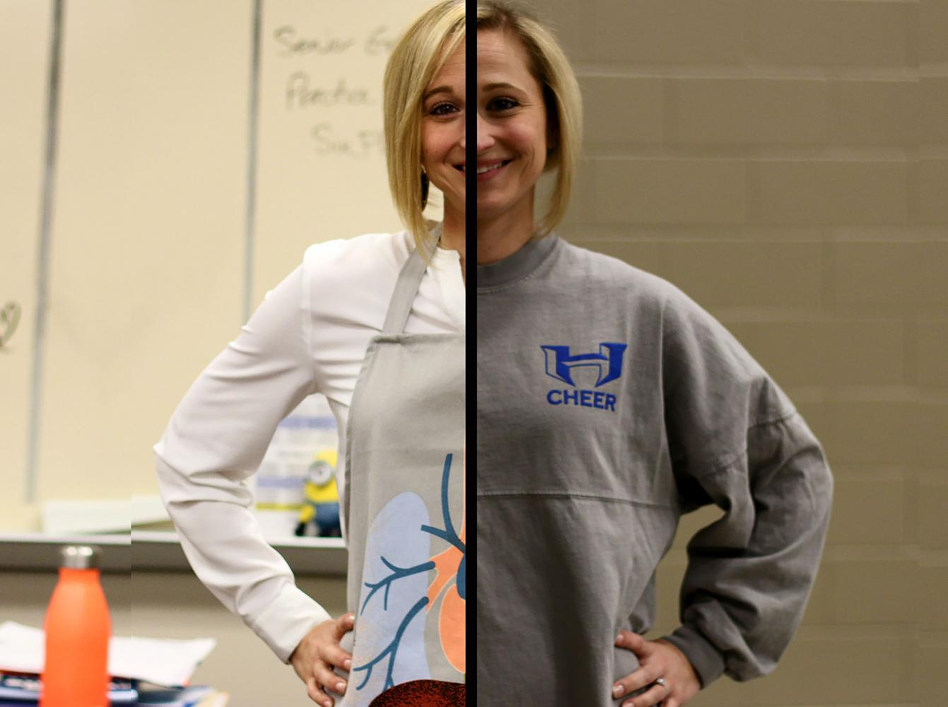 Trepagnier+poses+in+her+anatomy+apron+and+cheer+spirit+wear.+