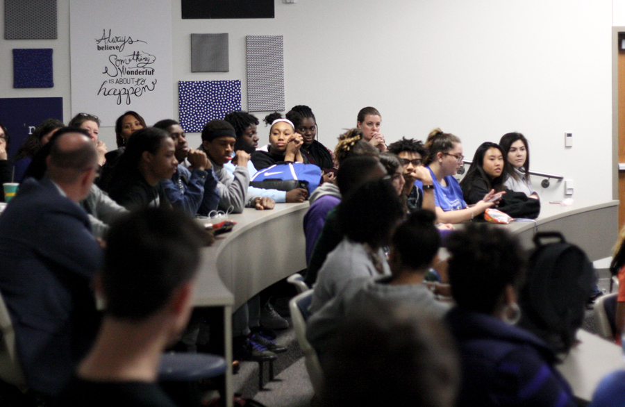 Students+and+staff+attend+the+first+open+forum+of+the+month.+The+session+focused+on+the+N-word.