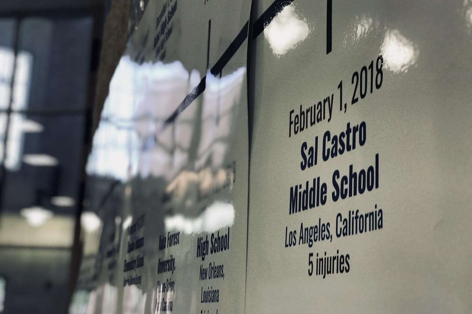 A list of past school shootings surround the front entrance of the school. The committee took responsibility in creating this list to promote its block lunch event.