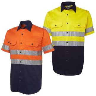 Hi Vis Work Shirt Short Sleeve with Tape