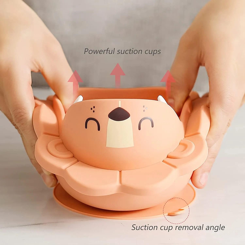 Silicone Weaning Baby Feeding Set-suction plate bow(lion-orange)