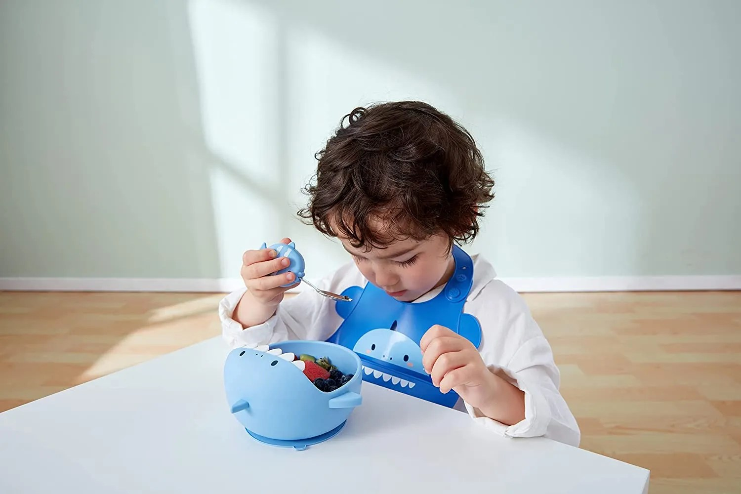 Silicone Weaning Baby Feeding Set model picture (blue)