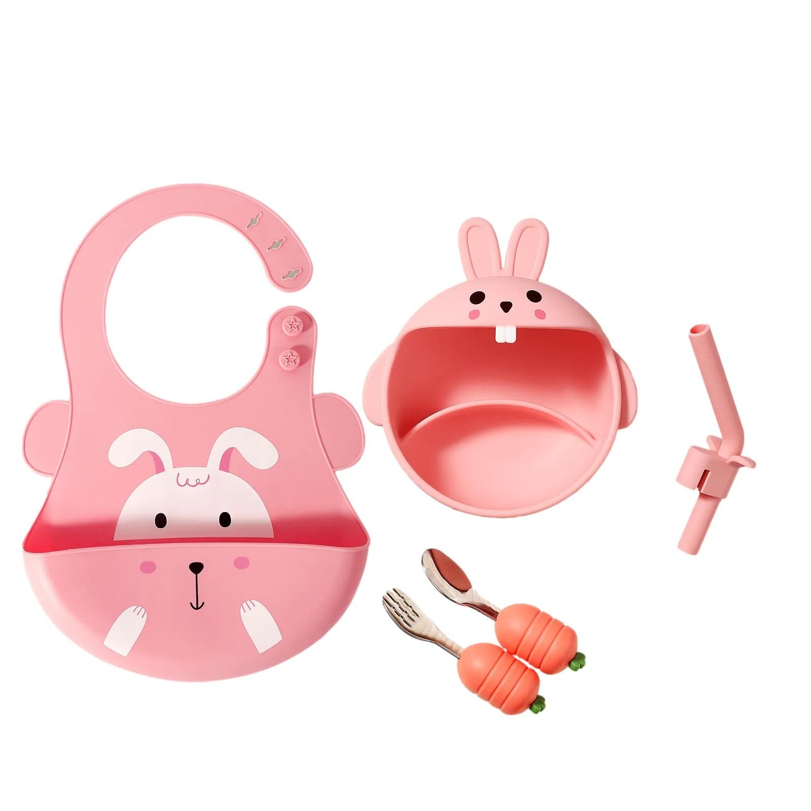 Silicone baby Feeding Set A Set of 5 (Rabbit-pink)