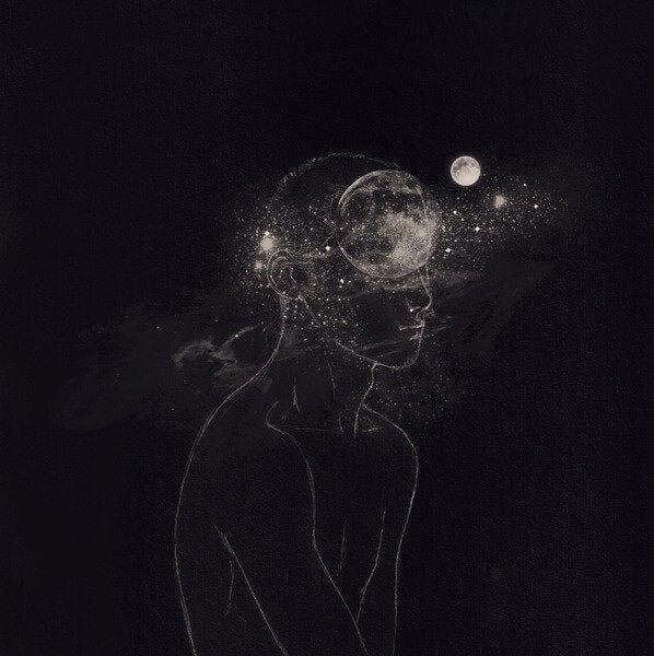 human-galaxy-black-space