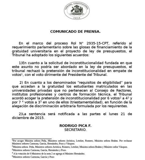 Gratuidad Declaración TC 10 dic 2015