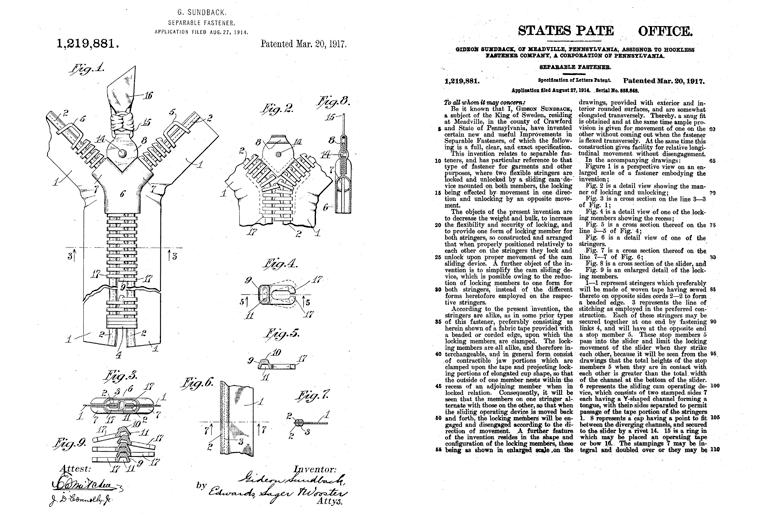 The History of Zippers: Talon, Universal, and Gideon Sundback