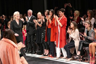 BERLIN, GERMANY - JANUARY 17: Karin Veit. chief designer Marc Cain, Helmut Schlotterer, Founder and CEO of Marc Cain, Kate Bosworth, Alexandra Maria Lara, Bettina Zimmermann, Jasmin Gerat, Aylin Tezel and Lisa Tomaschewsky during the Marc Cain fashion show fall/winter 2017 'Ballet magnifique' at 'Telekom Representation' on January 17, 2017 in Berlin, Germany. (Photo by Gisela Schober/Getty Images for Marc Cain)