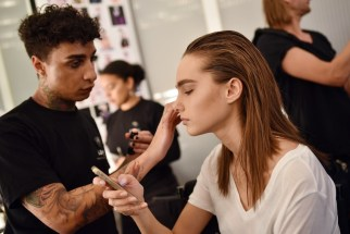 BERLIN, GERMANY - JANUARY 18: Models prepare backstage ahead of the Marcel Ostertag show during the Mercedes-Benz Fashion Week Berlin A/W 2017 at on January 18, 2017 in Berlin, Germany. (Photo by Zacharie Scheurer/Getty Images for IMG)