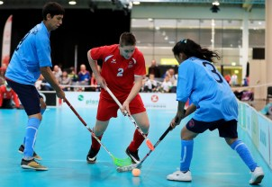 GRAZ,AUSTRIA,19.MAR.17 - SPECIAL OLYMPICS, FLOORBALL - World Winter Games, round robin games. Image shows Special Olympics athletes from Argentina and Austria/ Europe. Photo: GEPA pictures/ Mario Buehner