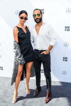 BERLIN, GERMANY - JULY 03: Rebecca Mir and husband Massimo Sinato attend the Lena Hoschek show during the Berlin Fashion Week Spring/Summer 2019 at ewerk on July 3, 2018 in Berlin, Germany. (Photo by Matthias Nareyek/Getty Images for Lena Hoschek) *** Local Caption *** Rebecca Mir, Massimo Sinato