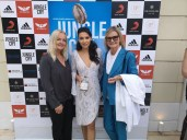 Präsentation Film Trailer of Jungle Cry during the Cannes Film Festival - Susanne Baumann-Cox, The Good Gin, actress Emily Shah und Journalist&Publisher hedigrager.com Hedi Grager (Photo Hedi Grager)