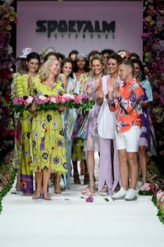 BERLIN, GERMANY - JULY 03: Designer Ulli Ehrlich, Oliver Pocher and models acknowledge the applause of the audience after the Sportalm Kitzbuehel show during the Berlin Fashion Week Spring/Summer 2020 at ewerk on July 03, 2019 in Berlin, Germany. (Photo by Stefan Knauer/Getty Images for Sportalm)