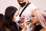 """PARIS, FRANCE - OCTOBER 03: Soo Joo Park prepares backstage prior to 'Le Defile L'Oreal Paris 2021"""" as part of Paris Fashion Week on October 03, 2021 in Paris, France. (Photo by Vittorio Zunino Celotto/Getty Images For L'Oreal)"""